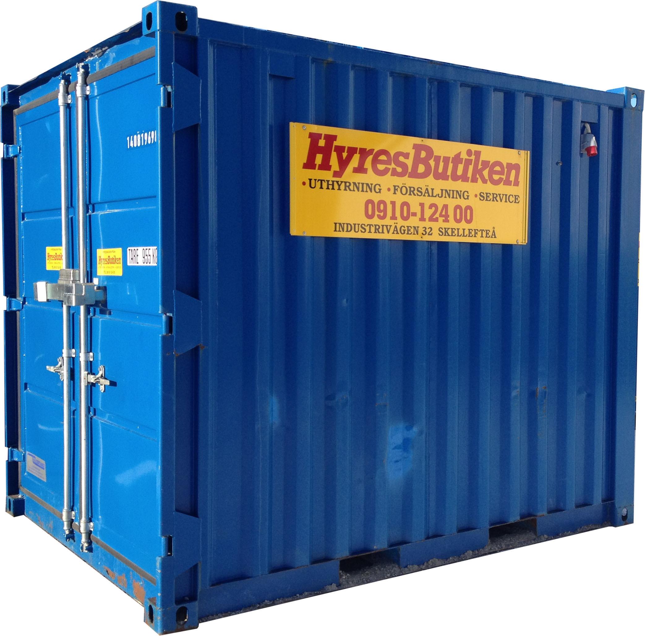 Container 10 fot, bomsäker, isolerad med hyllor